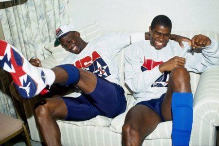 Michael Jordan y Magic Johnson durante los Juegos Olímpicos de 1992