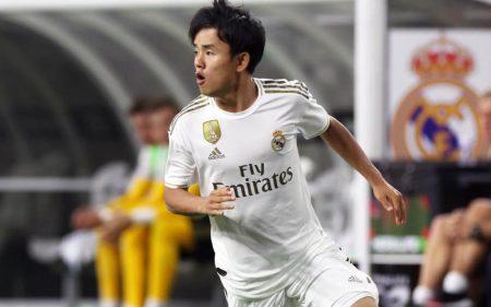 Takefusa Kubo con el Real Madrid en la pretemporada 2019.