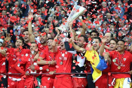 El Sevilla celebrando la Europa League 2015.