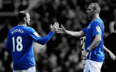 Wayne Rooney y Duncan Ferguson en el Everton