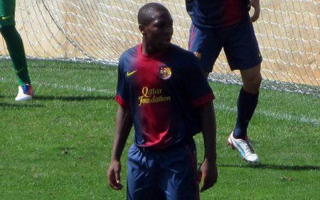 Adama Traoré, en un partido con la cantera del FC Barcelona.