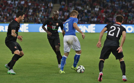 Ciro Immobile, en un encuentro entre Italia y Portugal.