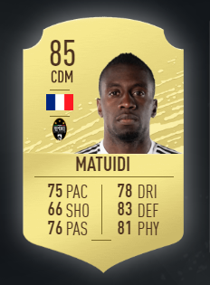 Blaise Matuidi es uno de jugadores de la liga italiana que te recomendamos fichar para FIFA 20