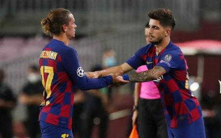 Monchu en su debut con el Barcelona en la Champions League